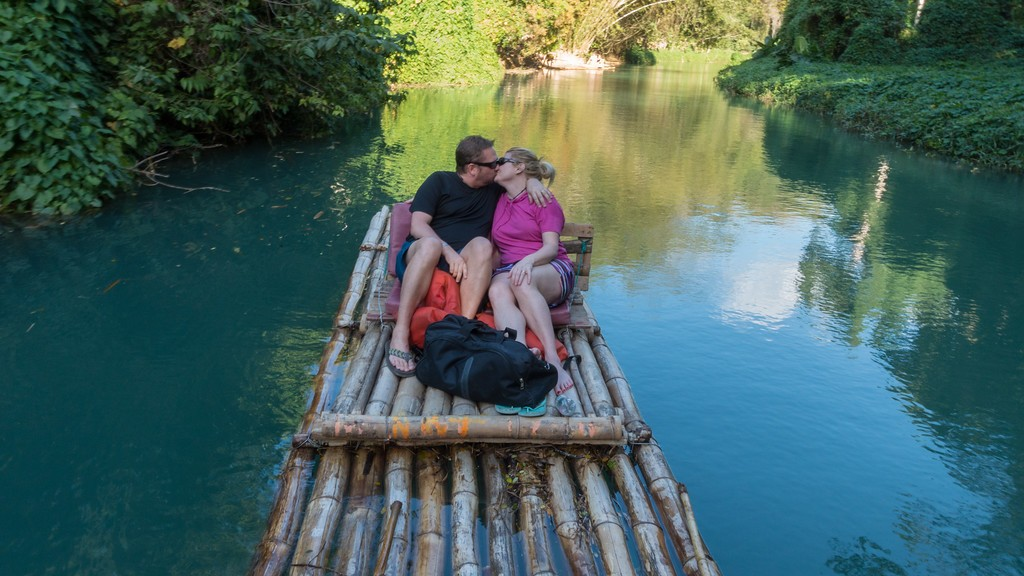 Couple Enjoying Bamboo Rafting at Martha Brae River