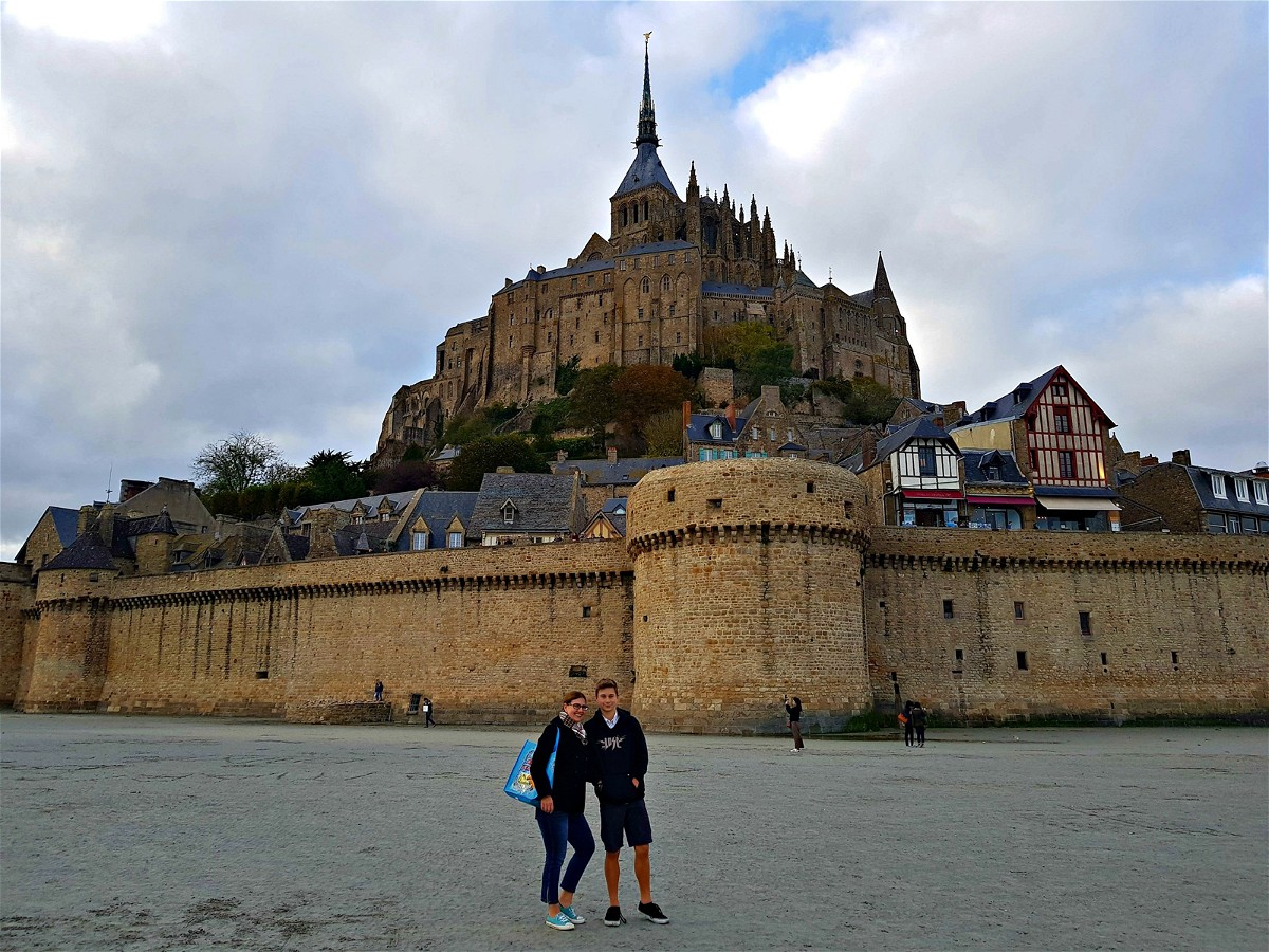 Tourist outside Mont Saint Michel